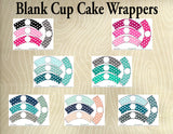 Blank Printable Cupcake Wrappers- Printable Party Favors - Instant Download