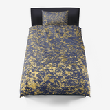 Blue Depth and Gold Patina Design Microfiber Duvet Cover with Pillow Sham(s)