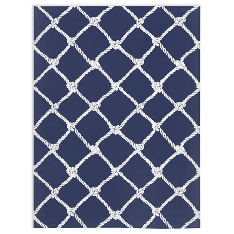 Nautical Rope in White on Blue Depth Design Minky Blankets