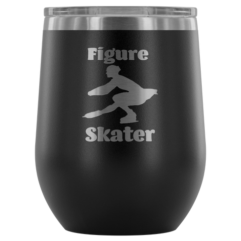 Figure Skater Silhouette Stemless Wine Tumbler 12 ounces