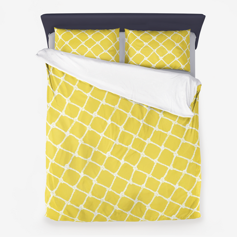Nautical Rope in White on Illuminating Yellow Design Microfiber Duvet Cover with Pillow Sham(s)