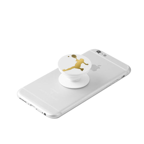 Tennis Player Silhouette in Gold -White Collapsible Grip & Stand for Phones and Tablets