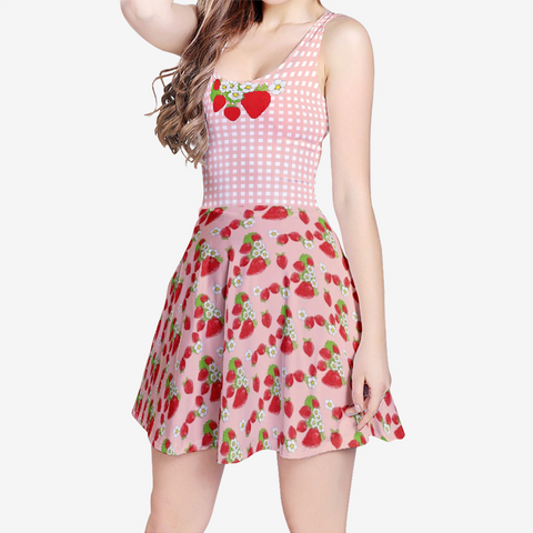 Strawberry Patch in Pink Plaid - Women's Sleeveless Midi Casual Flared Skater Dress