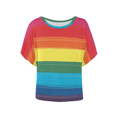 LGBTQ+ Painted Pride Flag Design Women's Batwing-Sleeved Blouse T shirt