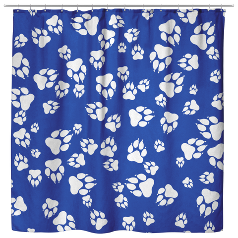 Wildcats Paw Print Pattern White on Blue -  Shower Curtain