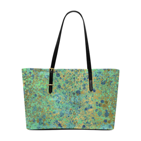 Women's Blues and Gold Patina Design Euramerican Tote Bag/Large