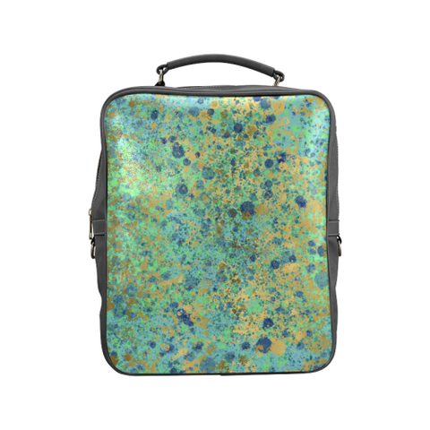 Women's Blues and Gold Patina Design Square Backpack (Model 1618)