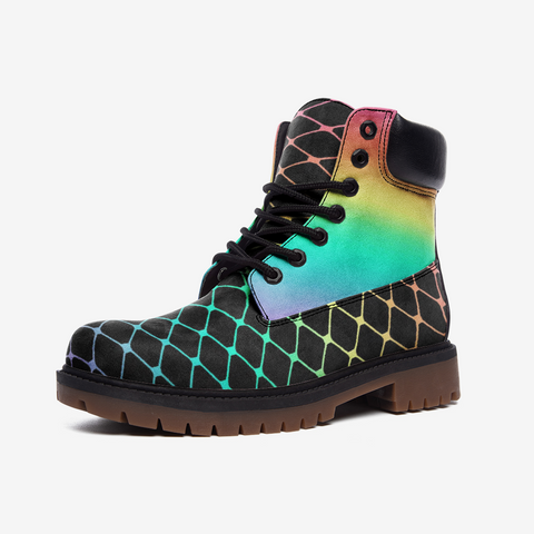 Fishnet Pastel Rainbow on Black Casual Leather Lightweight Boots TB-Style 2