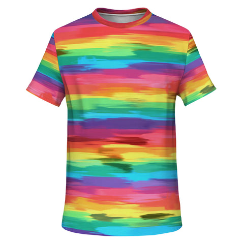Painted Pride Flag All Over Print Essential Tee Shirt-Unisex- Style 2