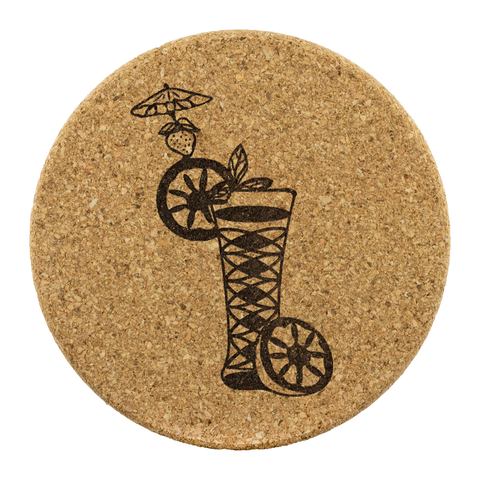 Cocktail Round Cork Coaster Set