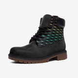 Fishnets in Pastel Rainbow on Black Background Casual Leather Lightweight boots TB