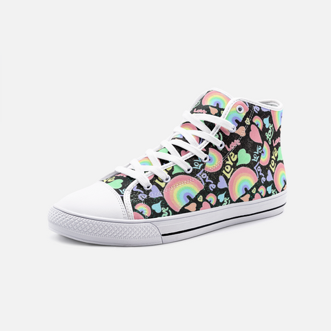 Pastel Love, Rainbows and Hearts Design on Black - Unisex High Top Canvas Shoes