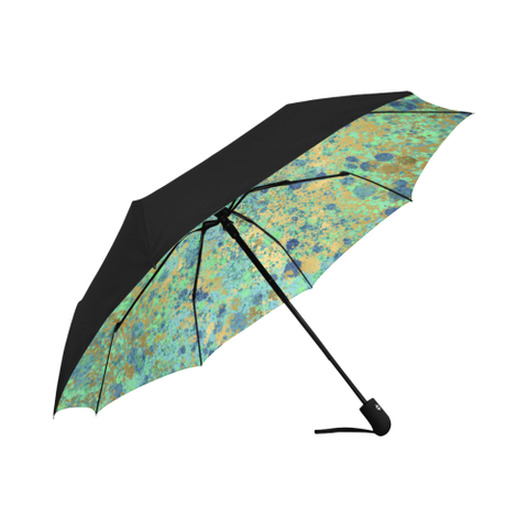 Women's Blues and Gold Patina Design Automatic Umbrella Anti-UV Auto-Foldable Umbrella (Underside Printing)