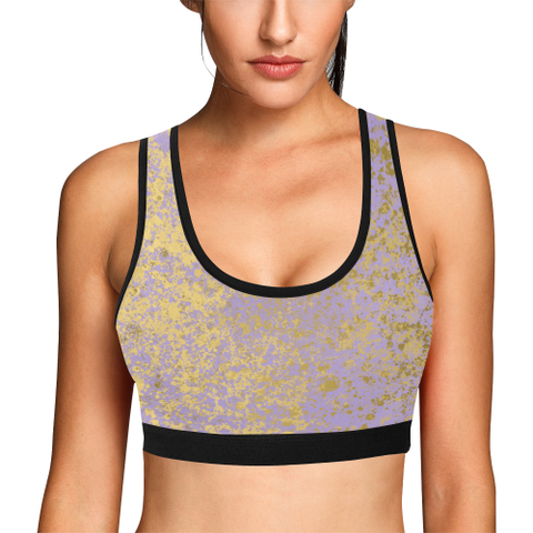 Lavender and Gold Patina Design Women's All Over Print Sports Bra