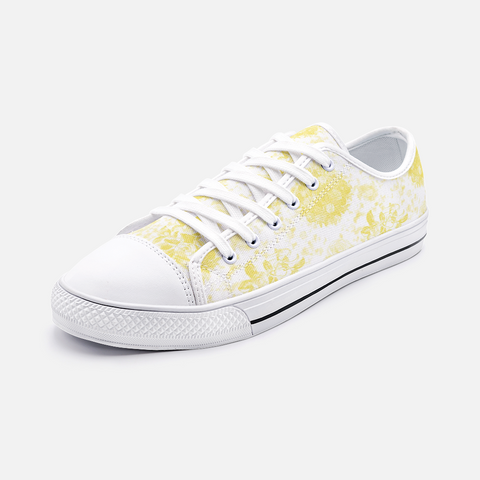 Roses in Illuminating Yellow on White Design -Unisex Low Top Canvas Shoes