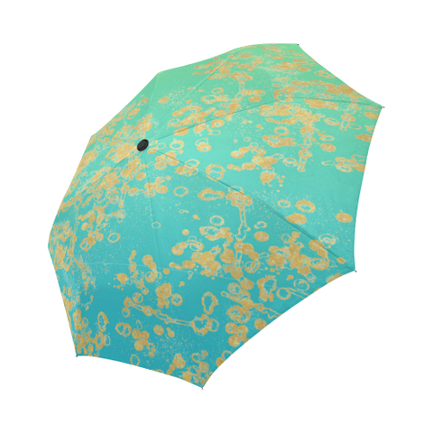 Lime-Mint Gradient Golden Flake Auto-Foldable Umbrella