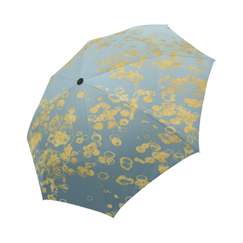 Blue Grey Golden Flake Auto-Foldable Umbrella