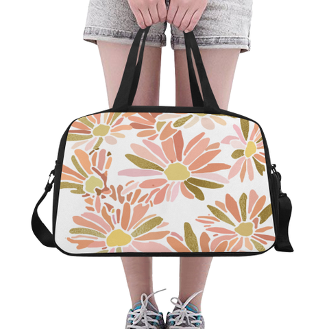 Daisy Floral Design with Gold -Fitness Handbag in a Variety of Colors