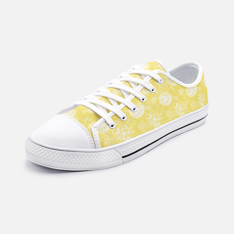 Roses in White on Illuminating Yellow Design Unisex Low Top Canvas Shoes
