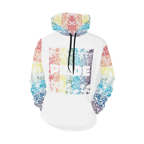 LGBTQ+ Pride Flag Distressed Design Style 2 All Over Print Hoodie for Men