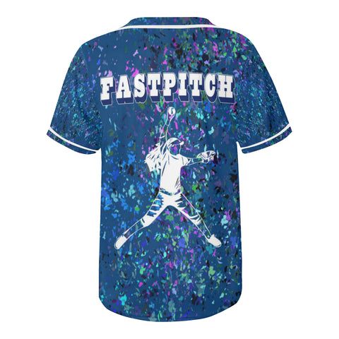 "Fastpitch Softball Design in Blue ""Formica"" Design- Style 2-All Over Print Baseball Jersey"