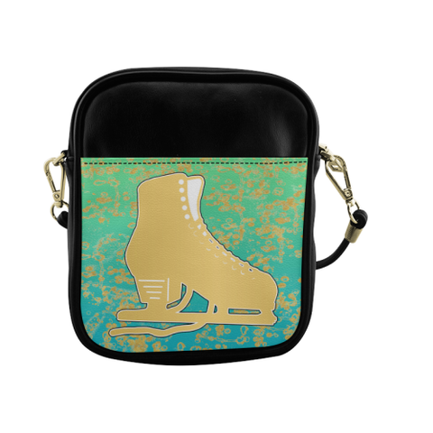 Phone Bag-Gold Figure Skate on Mint Gradient with Gold Flakes Sling Bag