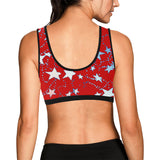 Red, Blue, and White Stars Women's All Over Print Sports Bra
