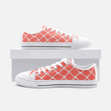 Nautical Rope in White on Living Coral Design-Unisex Low Top Canvas Shoes