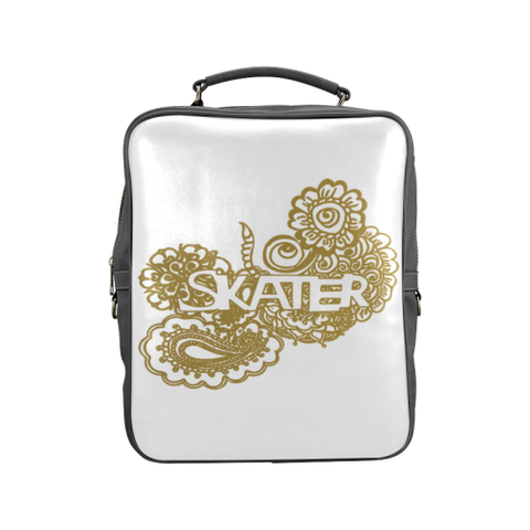 Gold Figure Skater Doodle Design on Gradient and Black Square Backpack-Style 2