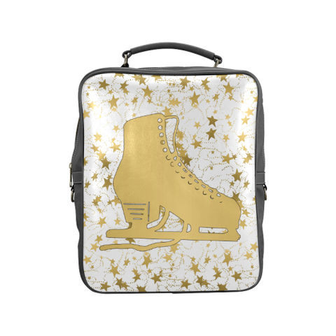 Gold Figure Skate Design on Gradient and Black Square Backpack-Style 3