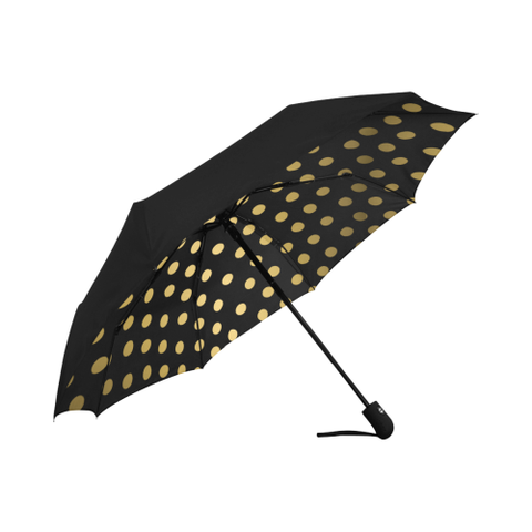 Black and Gold Dot Design  Anti-UV Auto-Foldable Umbrella (Underside Printing)