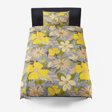 Retro Tropical Floral Print in Illuminating Yellow and Ultimate Gray Microfiber Duvet Cover