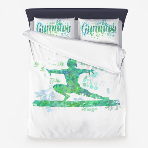Gymnastics Beam Watercolor Design in Blues and Greens - Microfiber Duvet Cover