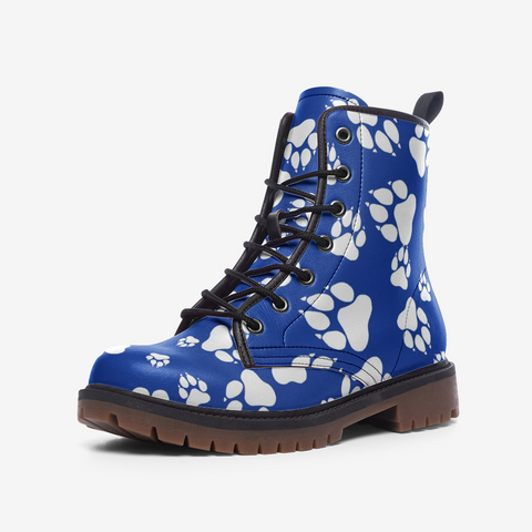 Wildcats Paw Print white on Blue - Casual Leather Lightweight Boots