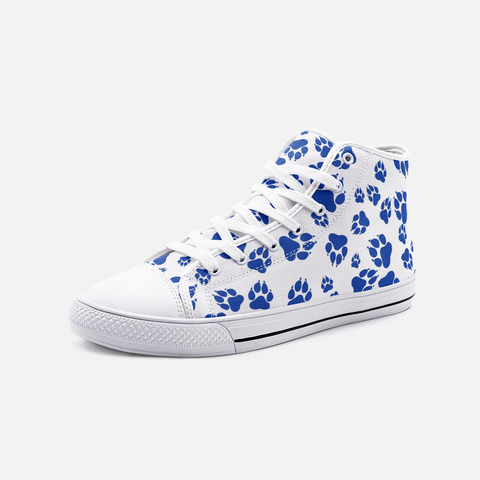 Wildcats Paw Print Pattern Blue on White - Unisex High Top Canvas Shoes
