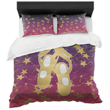 Ballet Shoes Silhouette in Gold with Stars on Berry and Navy Gradient -Duvet with 2 Pillow Shams