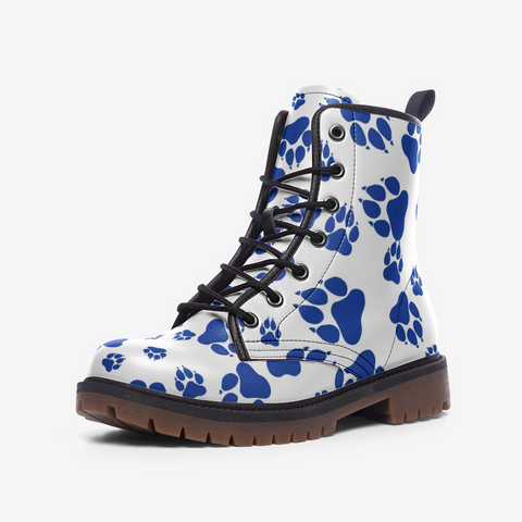Wildcats Paw Print Pattern Blue on White - Casual Leather Lightweight boots MT
