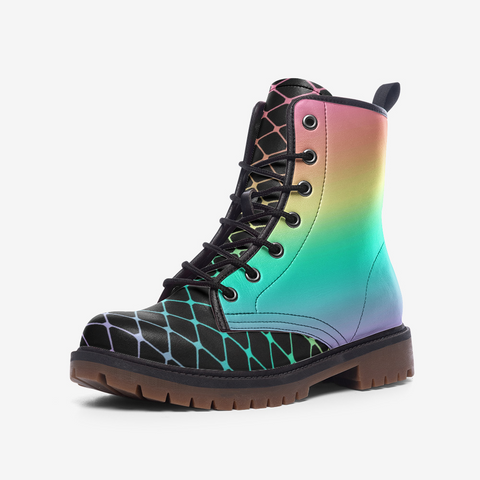 Fishnets in Pastel Rainbow on Black Background Casual Leather Lightweight boots MT-Style 3