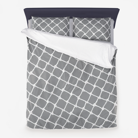 Nautical Rope in White on Ultimate Gray Design Microfiber Duvet Cover