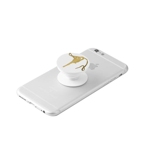 Rhythmic Gymnastics Silhouette in Gold -White Collapsible Grip & Stand for Phones and Tablets