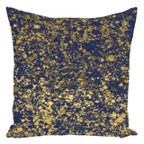 Blue Depth and Gold Patina Design Throw Pillows