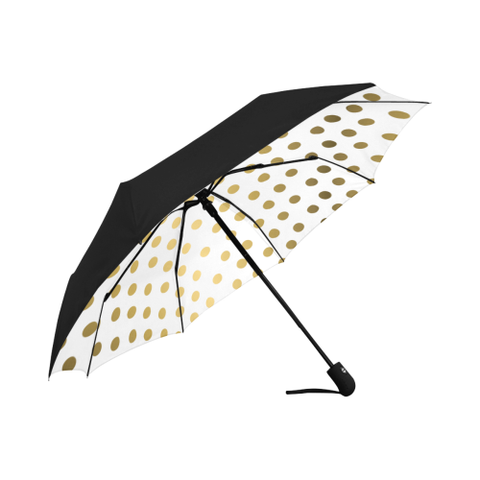 White and Gold Dot  Underside Design  Auto-Foldable Umbrella (Underside Printing)