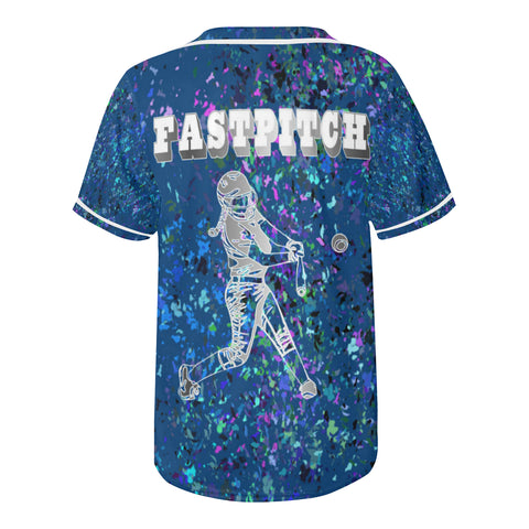 Fastpitch Batter in Silver on Blue Design All Over Print Baseball Jersey