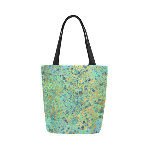 Women's Blues and Gold Patina Design Canvas Tote Bag