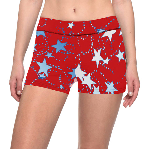 Red, Blue and White Gradient Stars All Over Print Short Leggings