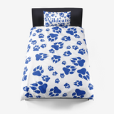 Wildcats Paw Print Pattern Blue on White - Microfiber Duvet Cover