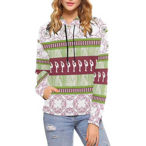 "Figure Skating  Adult Hoodies- ""Sweater"" Design in Cranberry and Green Style 2"