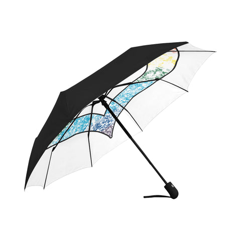 LGBTQ-Pride-Distressed-Heart Anti-UV Auto-Foldable Umbrella (Underside Printing)