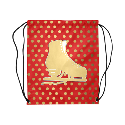 Figure Skate on Red and Gold Dot Design- Large Cinch Sak