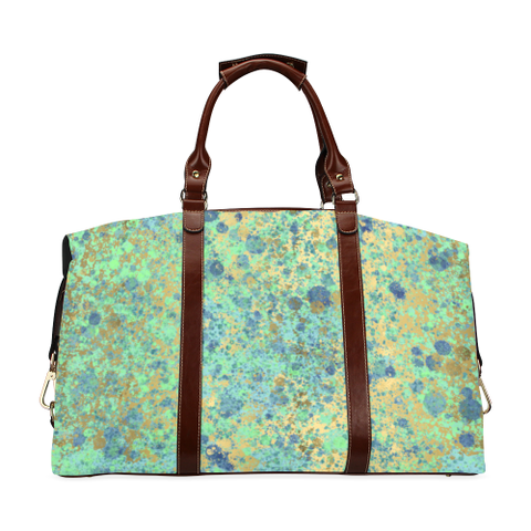 Women's Blues and Gold Patina Design Classic Travel Bag (Model 1643) Remake